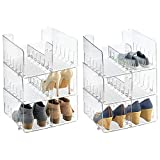 mDesign Stackable Closet Plastic Storage Organizer Divider for Organizing Men's and Women's Shoes, Booties, Pumps, Sandals, Wedges, Flats, Heels and Accessories, 6 Pack - Clear