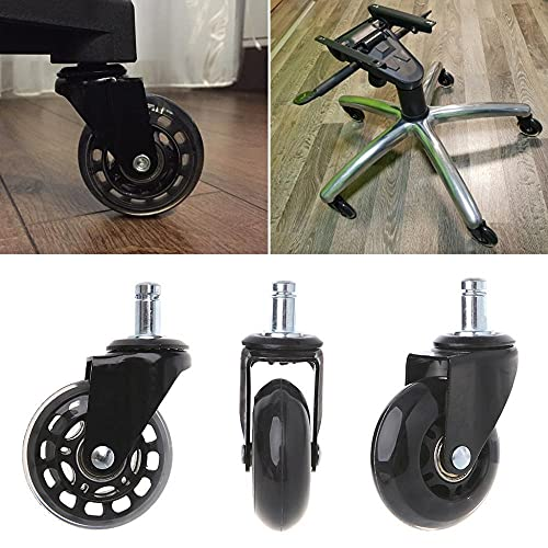 FYLYHWY 5PCS Office Chair Caster Wheels2.5 Inch Swivel Rubber Caster Wheels Replacement Soft Safe Rollers Furniture Hardware