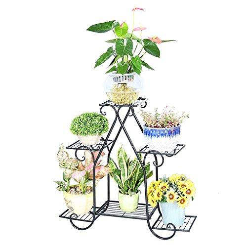 Iron Art Ensemble de fleurs de plancher à plusieurs étages, en trois couleurs en option (blanc / noir / marron), salon multifonctionnel Balcon en pot de salon ( Couleur : NOIR , taille : 83*23*80cm )
