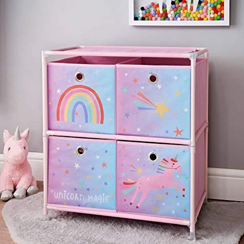Einhorn-Kommode mit 4 Schubladen, für Mädchen und Kinderzimmer, Rosa