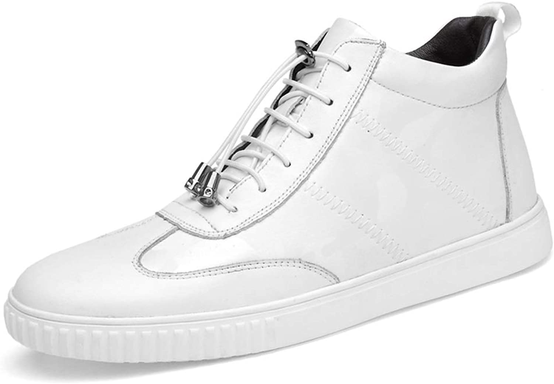 Herren Turnschuhe Walking Ankle schuhe Schnüren Echtes Leder Starkes Starkes Gummi Antislip Outsole High Top,Grille Schuhe (Farbe   Weiß, Größe   42 EU)  sehr berühmt