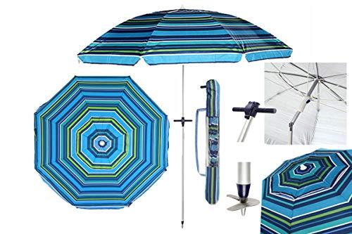 Pincho Sombrilla Playa 2M Aluminio UPF+50 99% UV+ Espiral con Punta de Aluminio Reforzado 8 Varillas.