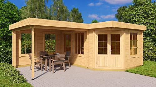 Alpholz 5-Eck Gartenhaus Pepe-28 aus Massiv-Holz | Gerätehaus mit 28 mm Wandstärke | Garten Holzhaus inklusive Montagematerial | Geräteschuppen Größe: 442 x 302 cm + 300 cm | Flachdach