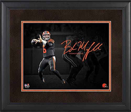"""Baker Mayfield Cleveland Browns Framed 11"""" x 14"""" Spotlight Photograph - Facsimile Signature - NFL Player Plaques and Collages"""