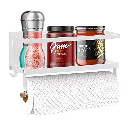 Organizador Magnético Refrigerador, Estante Magnético Especias Soporte Toallas Papel y 2 Ganchos Móviles, Estante Magnético Refrigerador en la Cocina Capacidad para 5kg, 30,5x10x10cm, Blanco