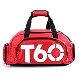 Bolsa de deportes unisex de 35 L, de gran capacidad, con compartimento para zapatos, de Obling, color Rojo con blanco., tamaño 45*25*30 CM