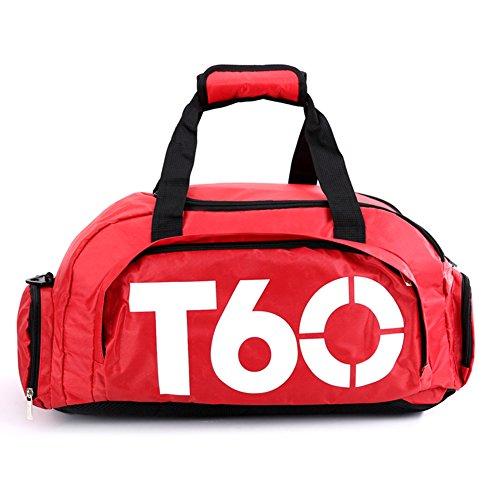 Obling Borsone sportivo unisex da 35L di grande capacità per la palestra con scomparto scarpe, unisex, Red with White, 45*25*30 CM