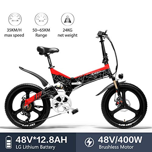 LANKELEISI G650 electric bike 20 * 2.4 Big Tire mountain bike Adult Folding city electric bike 400w 48v LG Lithium Battery Shimano 7 Speed ebike