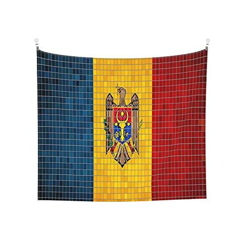 Flaggen Moldawien Tapisserie Wandbehang Tarot Boho Beliebte Mystic Trippy Yoga Hippie Wandteppiche für Wohnzimmer Schlafzimmer Wohnheim Heimdekor Schwarz & Weiß Stranddecke