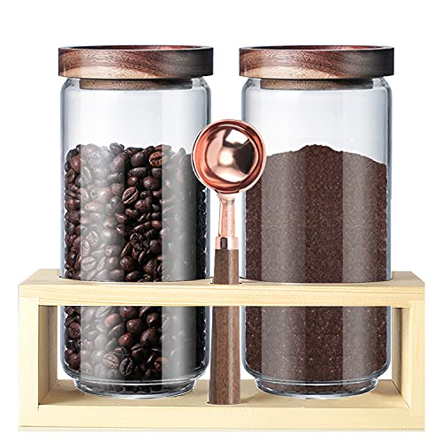 Coffee Jar and Canisters Airtight Coffee Container With Scoop Borosilicate Glass Storage Jar for Coffee Bean Bamboo Storage for Coffee Bean,Nut,Candy,Cookie Jar Snack and More (40 oz X 2 Pcs & Scoop & Shelf)