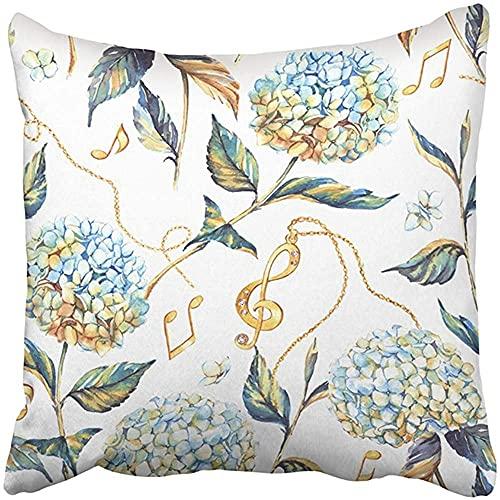 Throw Pillow Cover Poliéster 18X18 Pulgadas Verde Acuarela Verano Flor Azul Blanco Hortensia Repetido El Libro Dos Lados Decorativo Cuadrado Estampado Funda de Almohada Hogar