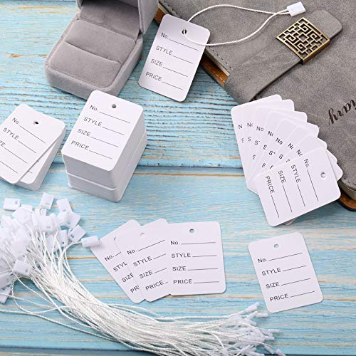 1000 Pieces Price Tags and Hang Tag String, Marking Tags Unstrung Coupon Tags Store Tags Clothing Tags and Nylon String Snap Lock Pin Loop Fastener Hook Ties for Clothes Retail Store (White) Photo #5