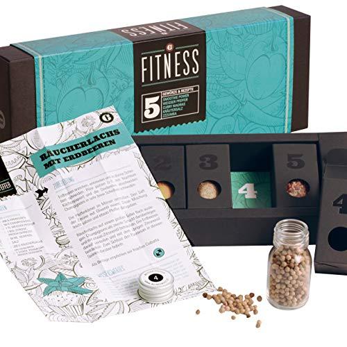 Fitness Food – MeinGenuss Gewürzset Fitness – Das perfekte Geschenkset für Geniesser – Geschenk für Fitness-Liebhaber – 5 Gewürze und Kräuter mit Rezepten