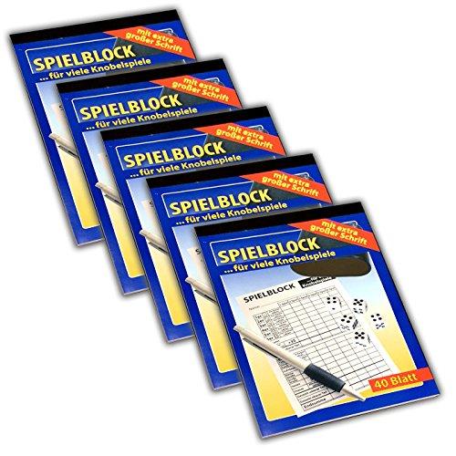 HAC24 5X Senioren Spielblock für Knobel je 40 Seiten A5 Spiel Block Knobelspiele