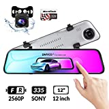 DMYCO Backup Camera Car Mirror Dash Cam,12'' IPS Full Touch Screen,2560P Resolution Front and Rear View Dual Lens,32G TF Card Included