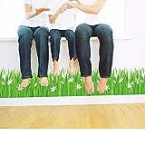 Faaddd 新鮮な緑の芝生白い花ウエストラインベースボードウォールステッカーPvc幅木リビングルームの寝室のバスルームキッチンバルコニーの装飾50×70センチ