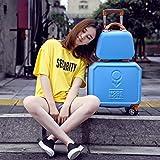 LHXS Caja de contraseña Rolling bolsa de equipaje con bolso niñas Trolley maleta mujeres, azul (set), 16 pulgadas
