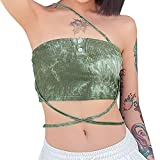 Women Summer Vest, Tie-Dye One-Shoulder Sleeveless Tied Straps Tight Crop Tops with Buttons for Girls, Green (Green , Large )