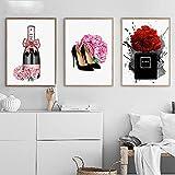 Pink Flower Peony Paris Perfume Champagne Wall Art Canvas Painting Carteles nórdicos e Impresiones Cuadros de Pared Sala de Estar / 40x60cmx3Pcs / Sin Marco