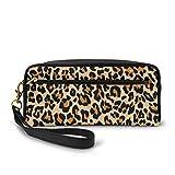 Estuche de leopardo repetido naranja guepardo bolsa de maquillaje bolsa de gran capacidad impermeable para estudiantes o mujeres