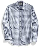 Goodthreads Slim-Fit Long-Sleeve Large-Scale Gingham Shirt Camisa, Gris (Grey/White), Small