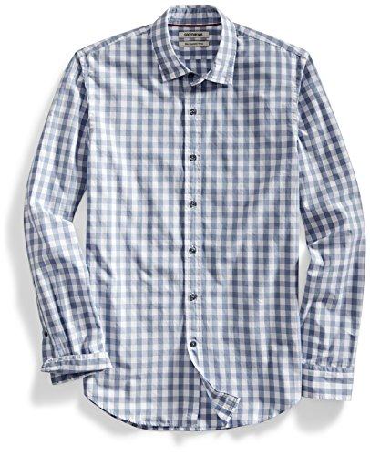 goodthreads para hombre Slim-fit camisa de gran escala de cuadros de manga, Gris/Blanco, Medium