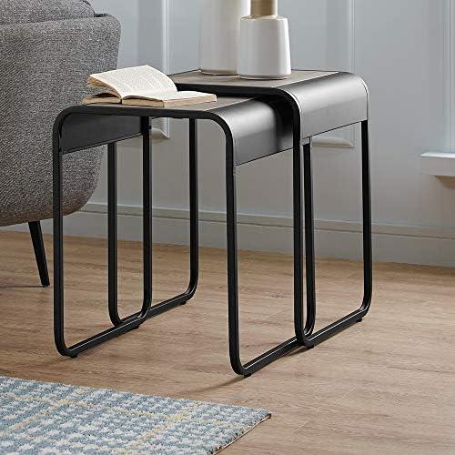 Best Walker Edison Furniture Company Curved Metal Frame Nesting Side Accent Set Living Room Storage End T