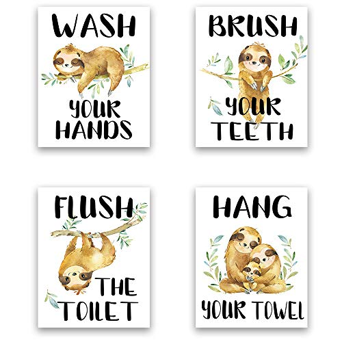 Sloth Bathroom Decor Prints