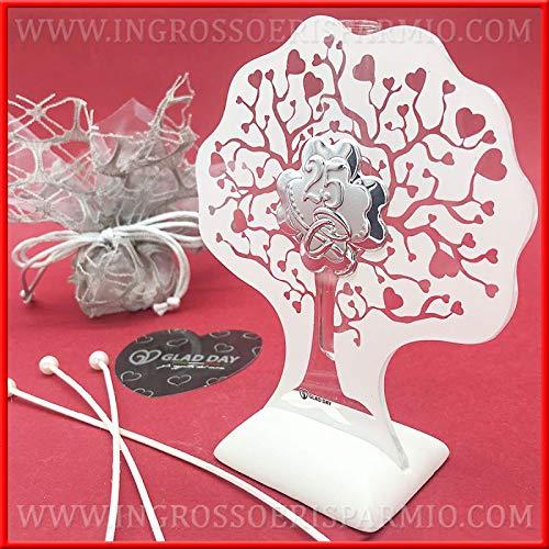 Ingrosso e Risparmio Glad Day – Ambientador de cristal con árbol de la vida y placa plateada número 25, regalo de aniversario con caja de regalo (con caja Tiffany)