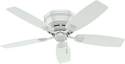 Hunter Indoor / Outdoor Low Profile Ceiling Fan, with pull chain control - Sea Wind 48 inch, White, 53119