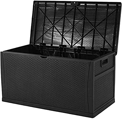 Oakmont Waterproof Patio Deck Box Outdoor Resin Wicker Storage Container Garden Furniture 120 Gallon, Black