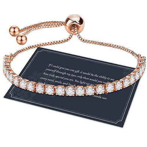 Rosegold Armband Damen Zirkonia Armband Armkette Damen Rosegold Kristall Diamant Armband 3mm Dünn Verstellbar Tennis Armband 23cm Einstellbar Armband Geschenk mit Box für Mädchen Mutter Tochter Freund