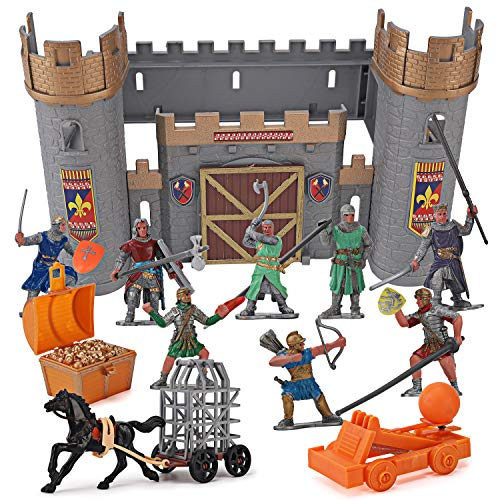 Medieval Castle Knights Action Figure Toy Army Playset with Assemble Castle, Catapult and Horse-Drawn Carriage (Bucket of 8 Soldier Figurines)