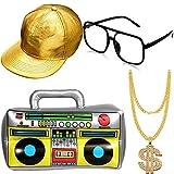 Hip Hop Kostüm Kit Hut Sonnenbrille Gold Kette 80s/ 90s Rapper Zubehör (Gold Baseball Mütze, Boom Box) -