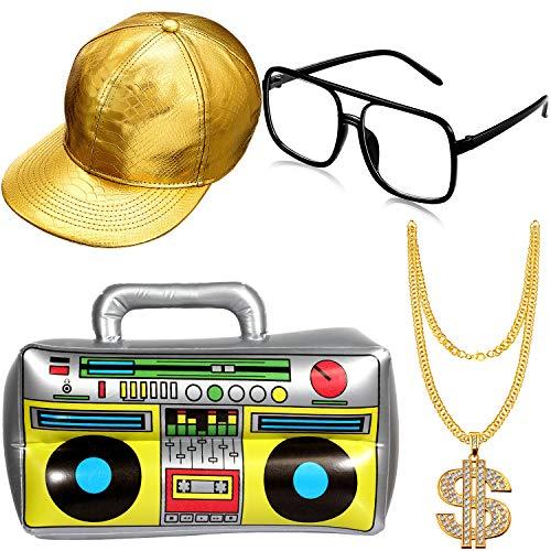 Hip Hop Kostüm Kit Hut Sonnenbrille Gold Kette 80s/ 90s Rapper Zubehör (Gold Baseball Mütze, Boom Box)