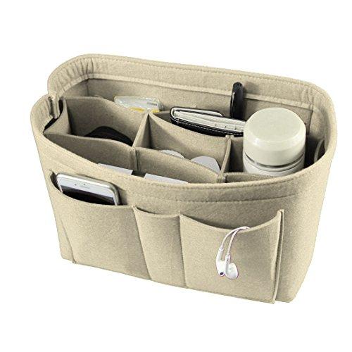 Enerhu Felt Insert Bags Handbag Tote Purse Organizer 10 Pockets Bag in Bag Backpack Travel Storage Pockets Beige M