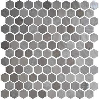 Daltile Uptown Glass Mosaic Backsplash Tile Frost Moka 1 Hexagon Mosaic UP18