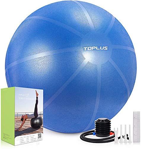TOPLUS Pelota de gimnasia, extra gruesa, para yoga, resistente a los golpes, pelota de equilibrio con bomba rápida, color azul claro y 65 cm
