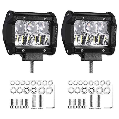 DaTangPai 4 Inch LED Light Bar 2pcs 72W 12000Lm High Intensity Dual Row LED Pods Spot Flood Combo Off Road Lights Driving Lights for Pickup Trucks ATV UTV 4x4 SUV 12V-24V IP68 Waterproof