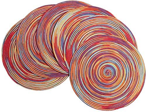 WUCHENG Rund Sparkle Placemats Set 6 Dekorative Silber Platzdeckchen Glitter for Feiertags-Party Hochzeit Glitter Tischsets tischset (Color : Rainbow Red)