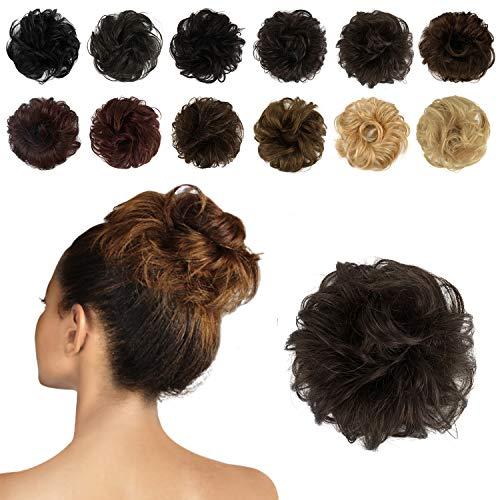 Feshfen 100% Schnitzel mit Menschenhaar Curly Messy Hair Erweiterungen des Buns Haare zur Hochzeit Teile für Frauen Frisur oben Donut Chignons (6# Medium Chestnut Brown)