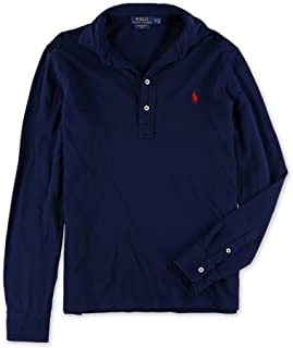 Mens Solid Long Sleeve Rugby Polo Shirt
