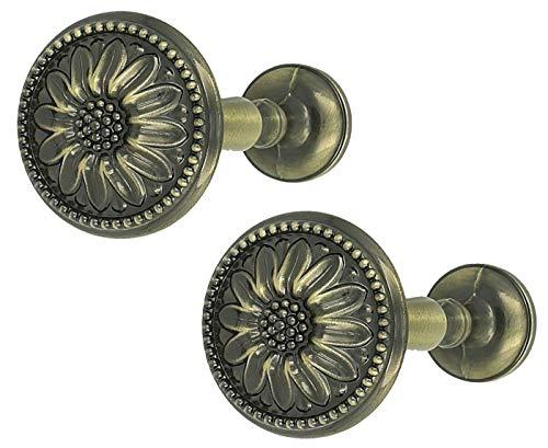 Sento 2X Raffhalter für Gardinen Blume Messing Antik Metall Raffbügel Schalhalter