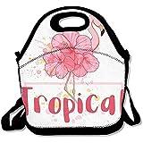 Lunch Tote Bolsas De Almuerzo Cute Lunch Bag, Thermos Big Lunch Bag For Men Pink Flora Flamingo