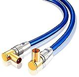 Cable de antena IBRA HDTV de 7,5 m   Cable de antena de TV con conectores en ángulo recto 90 grados   Premium Freeview coaxial   Conectores en ángulo de 90°   Para UHV/UHF/RF DVB-T1/T2