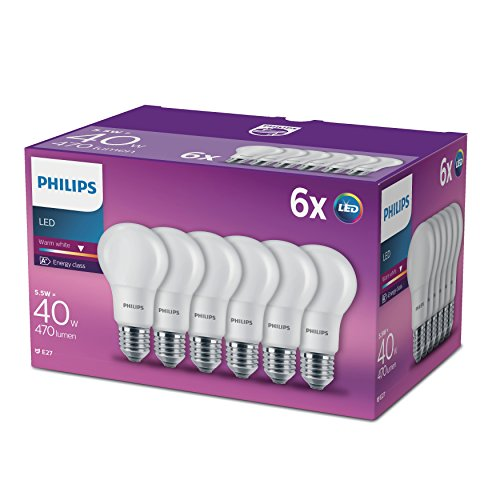 Philips LED Lampe ersetzt 40W, E27, A60, 6-er Pack, warmweiß (2700 Kelvin), 470 Lumen, matt