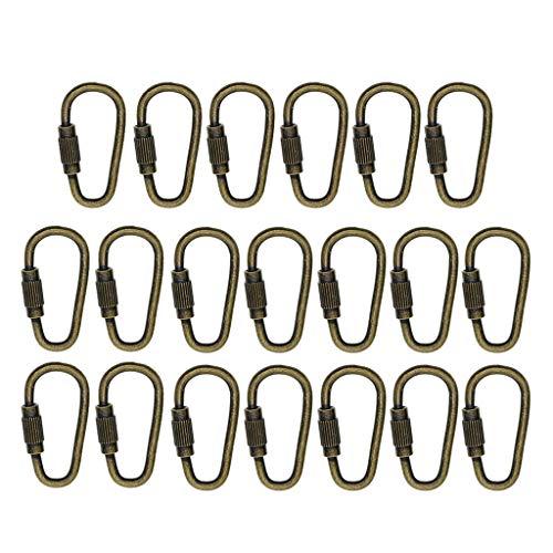 20 Stücke Stahl Schraubkarabiner, Mehrzweck Karabiner, als Verbindung Schnalle, Anhänger Haken