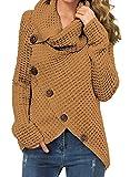 GRECERELLE Women's Casual Turtle Cowl Neck Asymmetric Hem Wrap Pullover Chunky Button Knit Sweater Light Tan-Medium