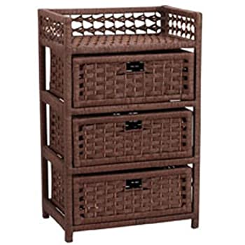 Household Essentials Hand-Woven Paper Rope 3-Drawer Chest Dark Brown Stain