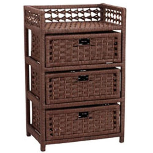 Household Essentials HandWoven Paper Rope 3Drawer Chest Dark Brown Stain